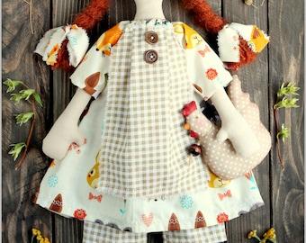 Primitive Raggedy Doll Brenda fabric soft doll rag doll cloth doll handmade doll