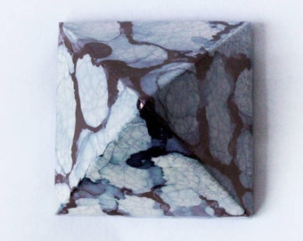 Porcelain Pyramid - Shiny Mettalic Bronze and White Clouds