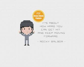 Rocky Cross Stitch - Rocky Balboa Cross Stitch Pattern - Philadelphia - Embroidery - Fight - Boxer