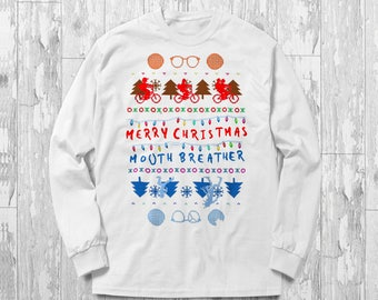 Stranger Things Merry Christmas Mouth Breather Mouthbreather Eleven 011 Alphabet Christmas Lights Ugly Sweater Jumper Hoodie Shirt Gift Idea