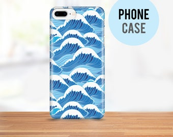 Blue Waves Cell Phone Case - Available for iPhone and Samsung - Bright Colors - Available in Standard and Tough Case