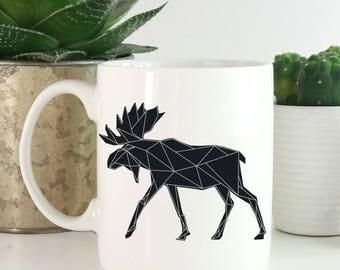 Geometric Animals Coffee Mug - Moose Coffee Mug - Animals Mug