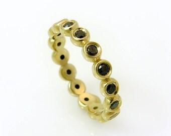 Black diamond ring, Gold stacking ring, Yellow gold diamond ring, Black diamond stacking ring, Dainty diamond ring, Eternity diamond band