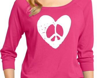 Ladies Hippie Heart Peace 3/4 Sleeve Scoop Neck HEARTPEACE-DM482