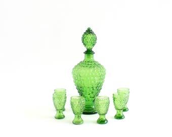 Green Glass Cocktail Set, Decanter & Shot Glasses