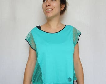 Women's T-shirt Halter with transparent Mint Green