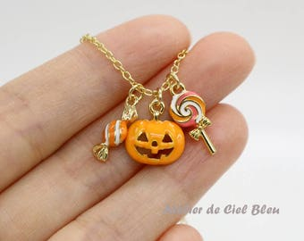Pumpkin Necklace, Lollipop Necklace, Candy Necklace, Gold Plated Pumpkin / Candy / Lollipop Necklace, Halloween Necklace, Halloween Jewelry