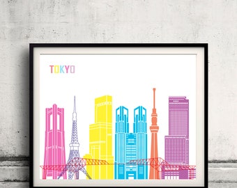 Tokyo skyline pop - Fine Art Print Glicee Poster Gift Illustration Pop Art Colorful Landmarks - SKU 2431
