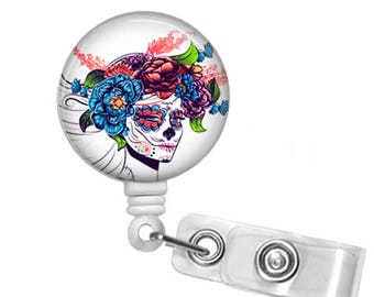 Day of the Dead Beauty, Sugar Skull, UpClose version,  Retractable ID Badge Reel , Halloween, All Hallows Eve,