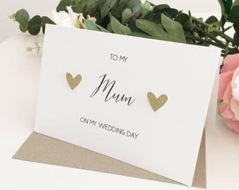 To my mum card, To My Mother On my Wedding Day, Mom wedding day card, To my Mom card, Wedding Thank You Card, Mother of The Bride Gift