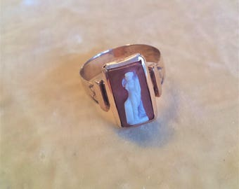 14K Gold, Carnelian Cameo Ring