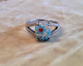 Sterling Silver Art Glass Ring