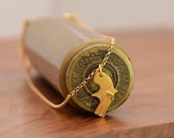Gold Pistol Necklace, Sold Gold Gun & Chain, Revolver necklace, Mens Gold Necklace, Pistol Pendant, 3D Gun Pendant, Mens Dainty Necklace