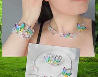 Silver Butterfly Bracelet and necklace multicolor wedding