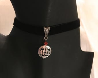 Silver tone Jack O' Lantern Pendant, Ribbon  Choker with Swarovski bicone