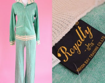 Vintage Royalty Hudson Bay Trading Co Tracksuit // 70s Leisure suit, Mint Green, Women Size Small