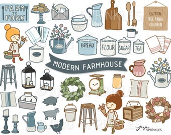 Digital Clipart Modern Farmhouse Illustrations Planner Stickers