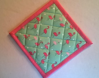 Set of Two Flamingo Potholders Hot Pads Hanging Loop Optional