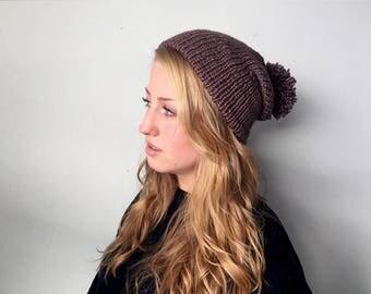 Pompom Brim Knit Beanie | Dusty Mauve Slouchy Hat