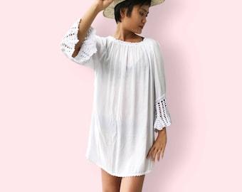 White ruffle crochet beach dress, BW08 white, beach dress, holiday, maternity wear, lounge wear, poolside party wear, party dress, fun dress