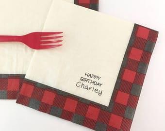 Personalized Luncheon Napkins - Lumberjack Napkins - Lumberjack Baby Shower - First Birthday - Lumberjack Birthday - Buffalo Plaid - Bear