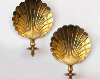 Pair Brass Candlestick Wall Sconces Shell Eclectic MCM