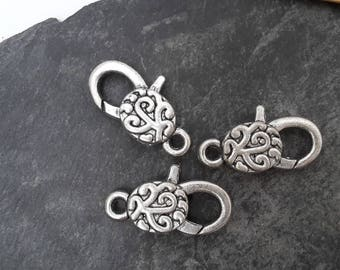Great spiral clasp, hook Keychain, bag, jewelry, 3 cm silver plated clasp hook