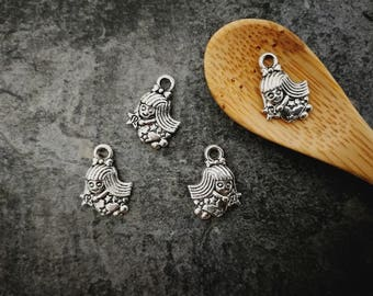 10 pcs, witch Pewters kawwaii with magic wand, silver, 15 x 11 mm