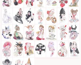 31 halloween pop surrealism art prints gothic goth creature witch vampire lolita demon skull