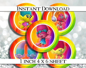 "50% OFF SALE INSTANT Download Trolls 4x6 Digital 1"" Inch Bottle Cap Image/Digital Collage sheet"