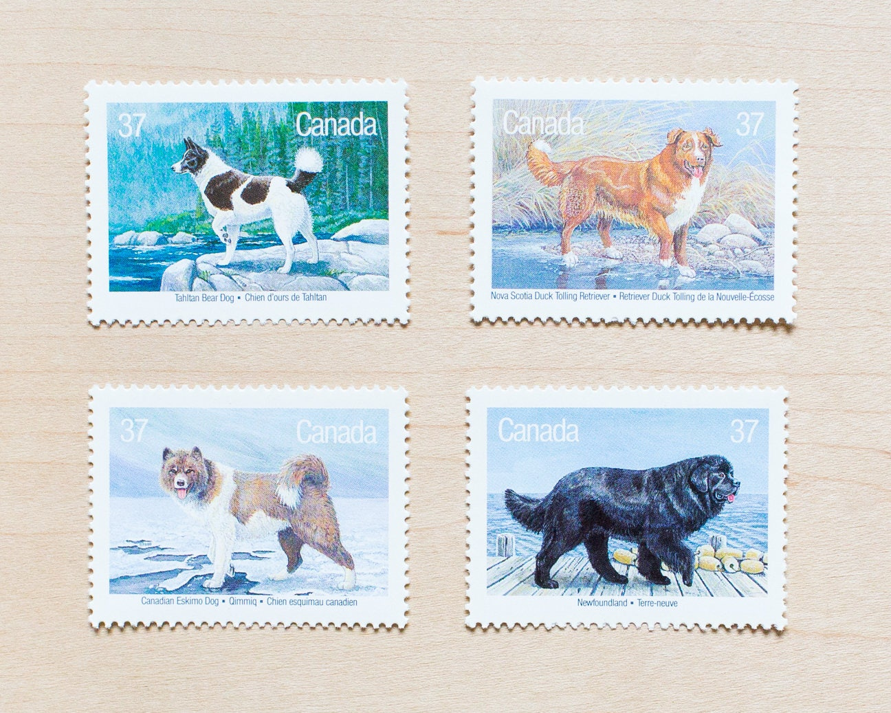 Canadian vintage postage stamps dogs of canada wedding for Stamps for wedding invitations canada
