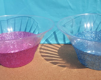 Glitter Party Bowls, Your Choice of Color, Glitter Candy Dish, Glitter Party Dish, Glitter Chip Bowl, Bridal Shower Decor, Baby Shower Decor