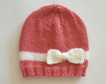 Baby girl bow beanie, coral and white beanie, baby beanie