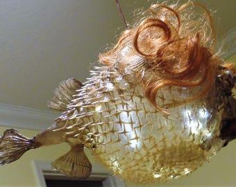 Fish lamp etsy for Puffer fish lamp