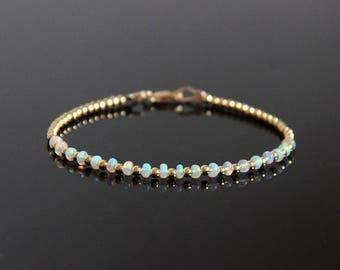 Opal Beaded Bracelet Gold - Opal Bracelet, Opalite Bracelet, Natural Opal, Fire Opal Bracelet, Opal Jewelry, October Birthstone Bracelet