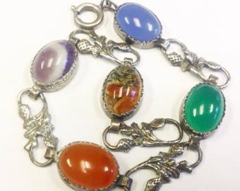Antique or vintage Scottish arts and crafts style chalcedony bracelet with Scottish thistle motif. Bracelet with moss agate, chrysoprase .