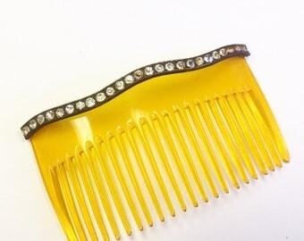 Antique, Edwardian, sparkly paste, rhinestone, celluloid hair comb.