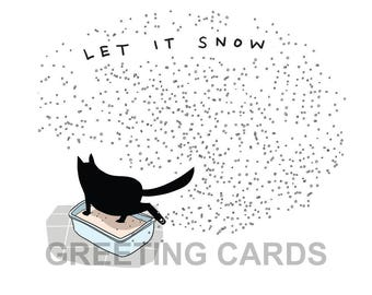 christmas cat cards (5), black cat greeting cards, christmas cards, funny holiday cards, winter cards, holiday cards, funny holiday cards