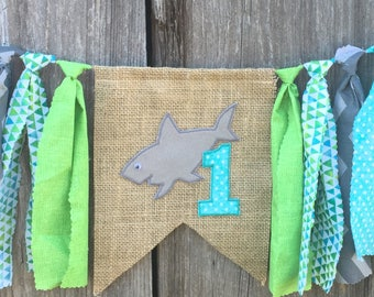 Shark birthday, shark highchair banner, shark cake smash, shark party, shark banner, shark theme, shark photo prop, shark first birthday