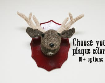 Faux Taxidermy Deer - Custom Color Plaque - Knitted Wall Art - Choose your color