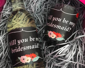 Bridesmaid Proposal Candle Label, Wine Label, Maid of Honour Gift. Bridesmaid Gift Label,  Wedding Party Gift, Gift For Her, Candle Gift