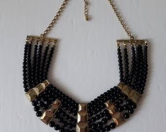 Mult-Strand Women's Necklace, Black Pearl Necklace, Pearl Necklace, Black Necklace, Statement Necklace, Black Pearl Necklace, Faux Pearl,