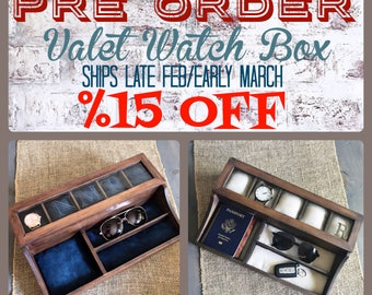 PRE ORDER!! Watch Box - 5 Compartment Watch Box - Valet Watch Box - Men's Valet - Watch Storage - Watch Organizer - Anniversary Gift