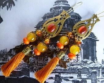 "Pierced ear ethnic ""Kerala"" bronze metal, yellow and orange glass beads, tassel, orange howlite stone"