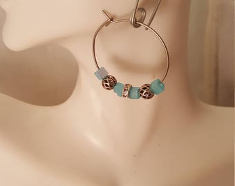 Blue hoop earrings  (ER089)