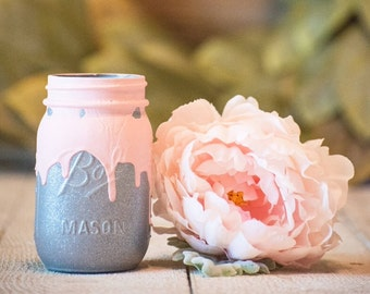 Pink and Silver Drip Centerpiece Kylie Jenner Wedding Decor Party Mason Jar Rustic Farmhouse Decor Painted