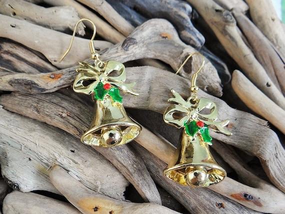 Christmas Xmas Jingle Bells Bell Bows Earrings Gold Tone Holly Leaves Berries Festive Spirit Enamel Enameled