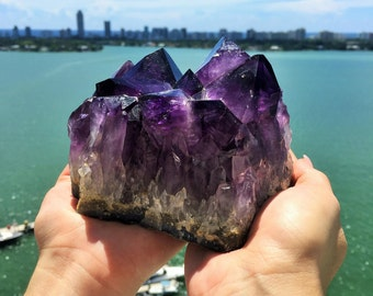 Large Amethyst Cluster w/ Reiki /Healing Crystals/Free Shipping