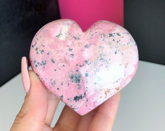 Pink Rhodonite Crystal Heart infused w/ Love and Reiki