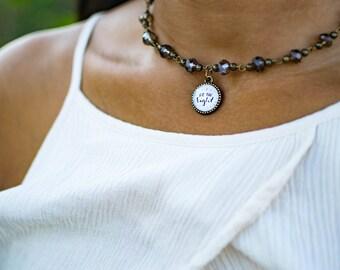 Be the Light Choker Necklace, Inspirational Mantra Choker, Inspiring Jewelry, Cute Teen Girl Gift Ideas, Gifts for Feminist 602079